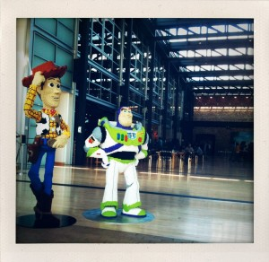 Lifesize Lego recreations of Woody and Buzz Lightyear greeting visitors inside the main lobby.