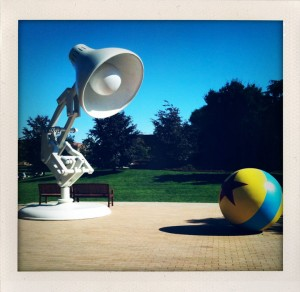 A giant Luxo stands vigil outside the main entrance at Pixar Animation Studios.