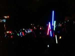 Lightsabers in the night.